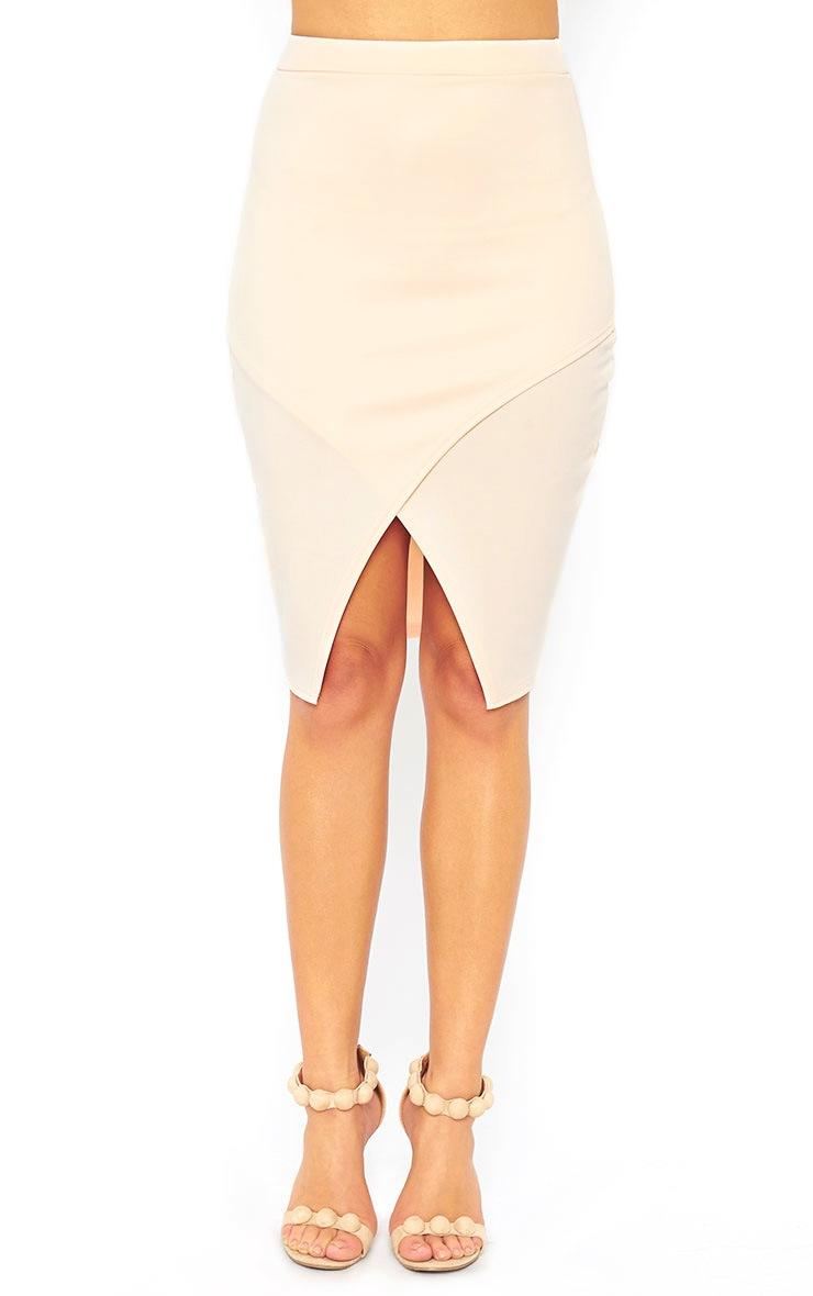 Melrose Nude Scuba Midi Skirt 2