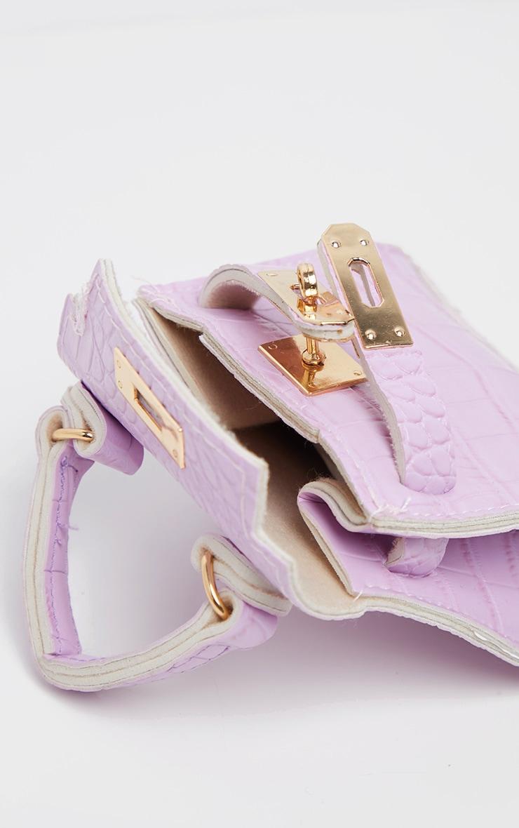 Mini-sac lilas effet croco 5