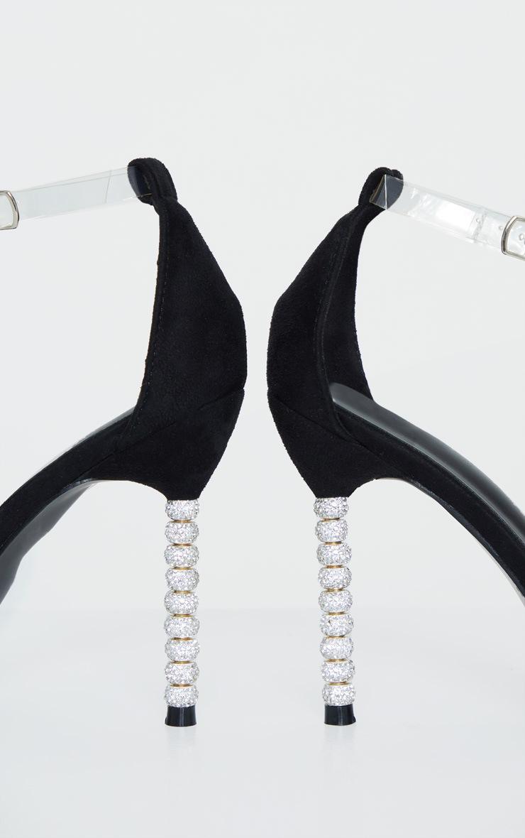Black Diamante Beaded Heel Strappy Sandal 4