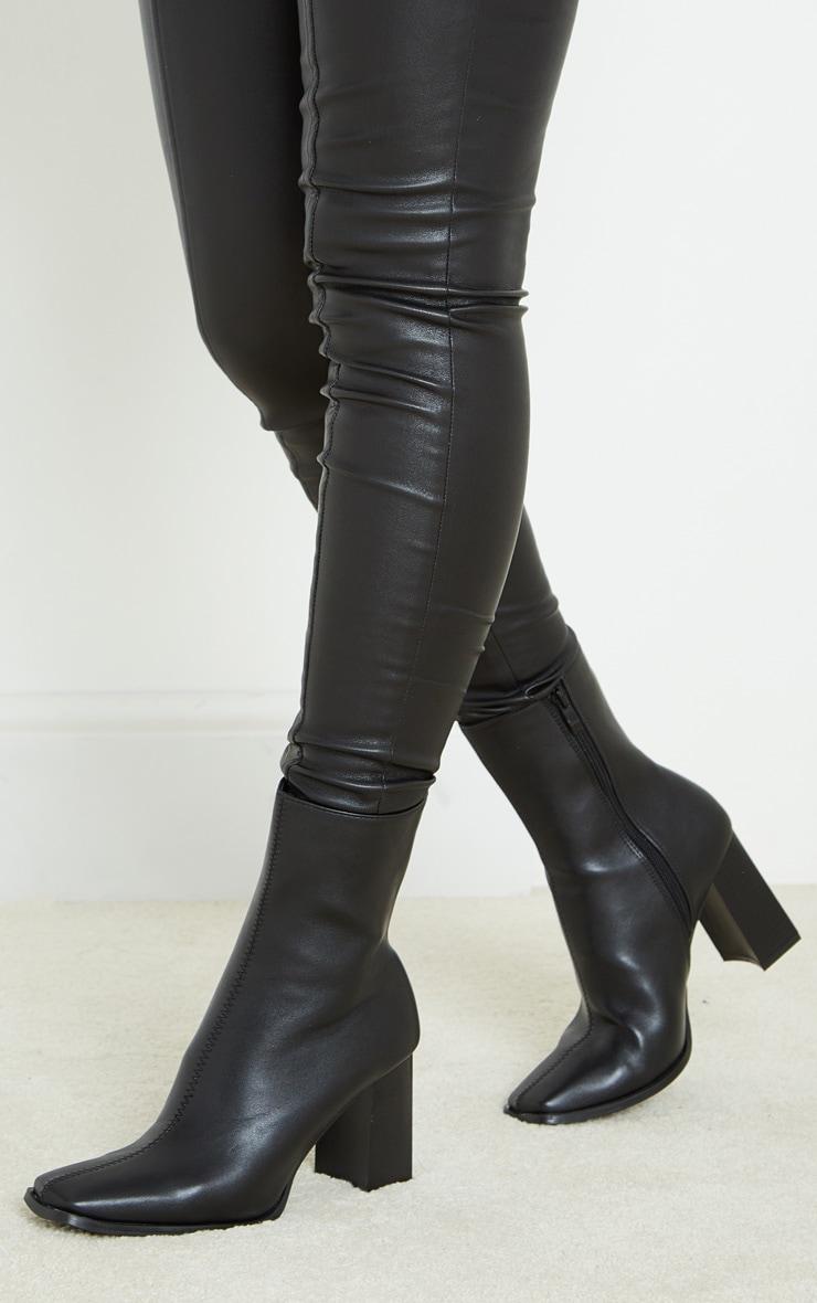 Black Block Mid Heel Ankle Boots 2