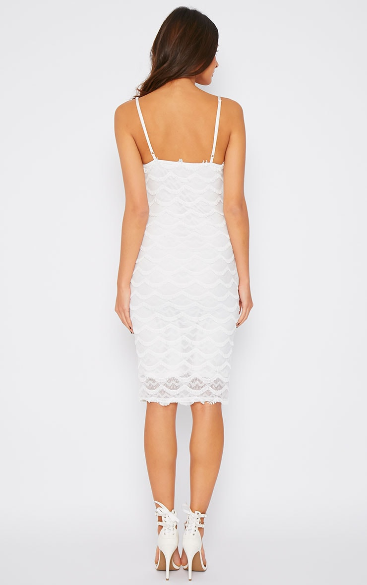 Hailey Cream Eyelash Midi Dress 2