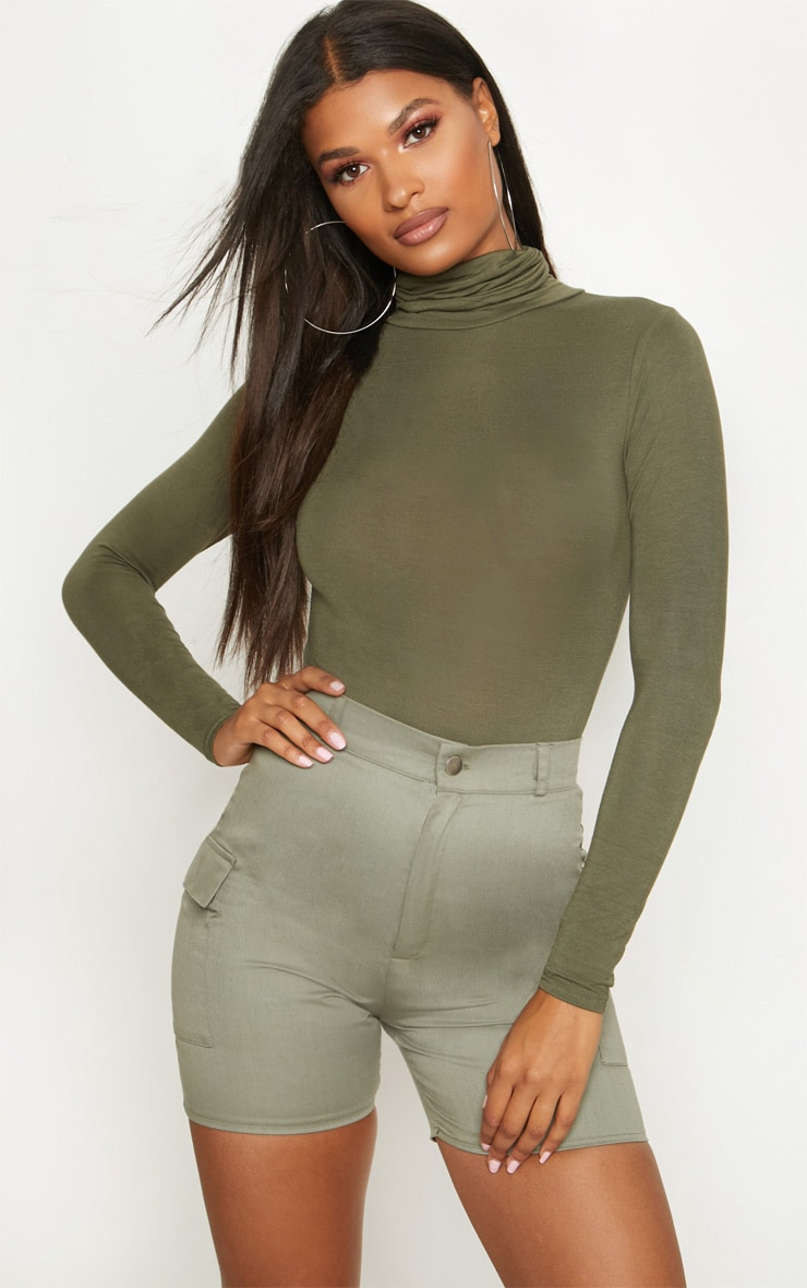 Khaki Roll Neck Long Sleeve Bodysuit 1