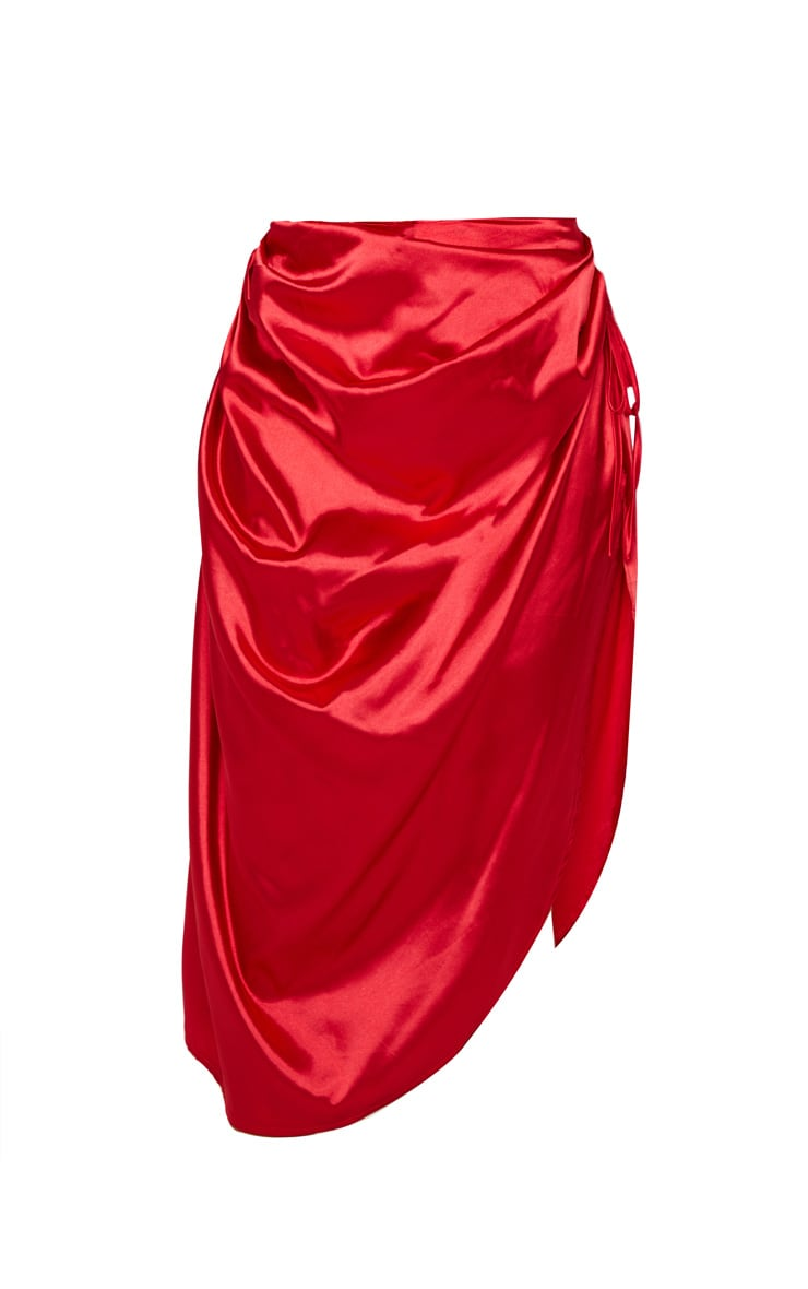 Red Ruched Tie Side Midi Skirt 3