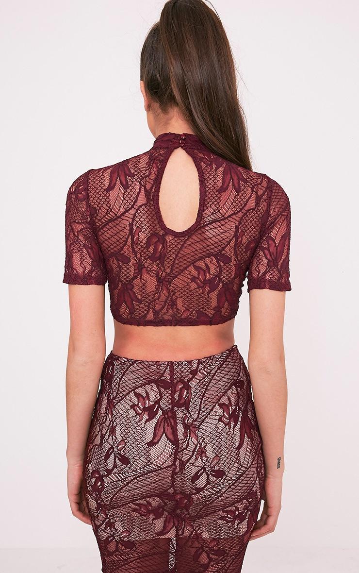 Leela Burgundy Lace Short Sleeved Crop Top 2