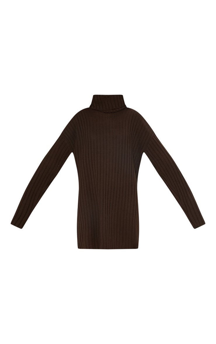 Brown High Neck Ribbed Knitted Dress  3