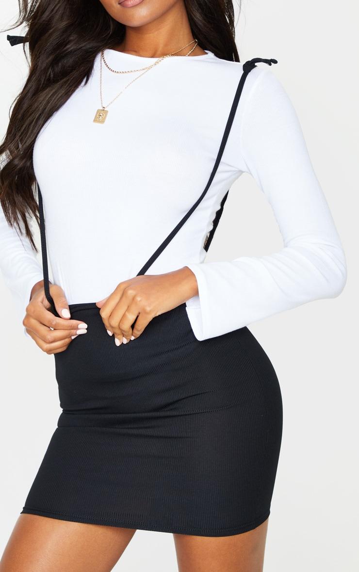 Black Rib Tie Shoulder Jersey Pinafore Dress 4