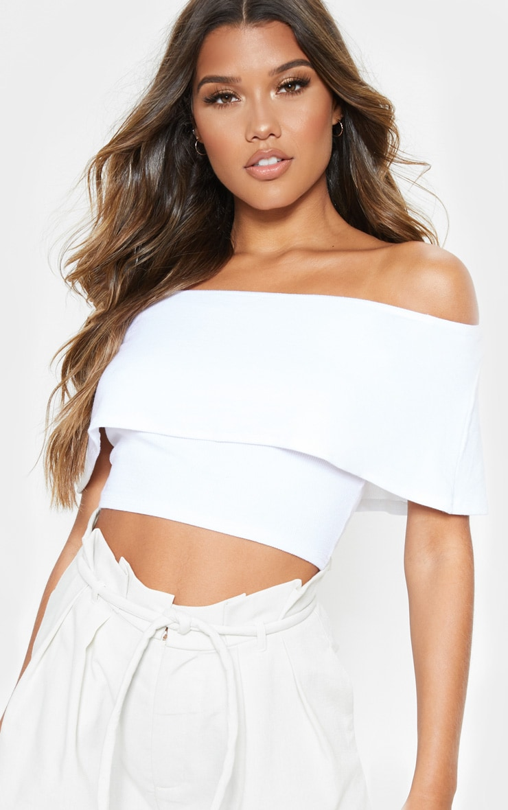White Rib Bardot Frill Crop Top 5