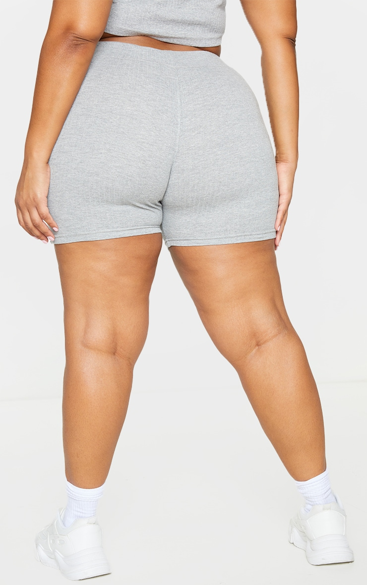 PRETTYLITTLETHING Plus Grey Ribbed Cycle Shorts 3