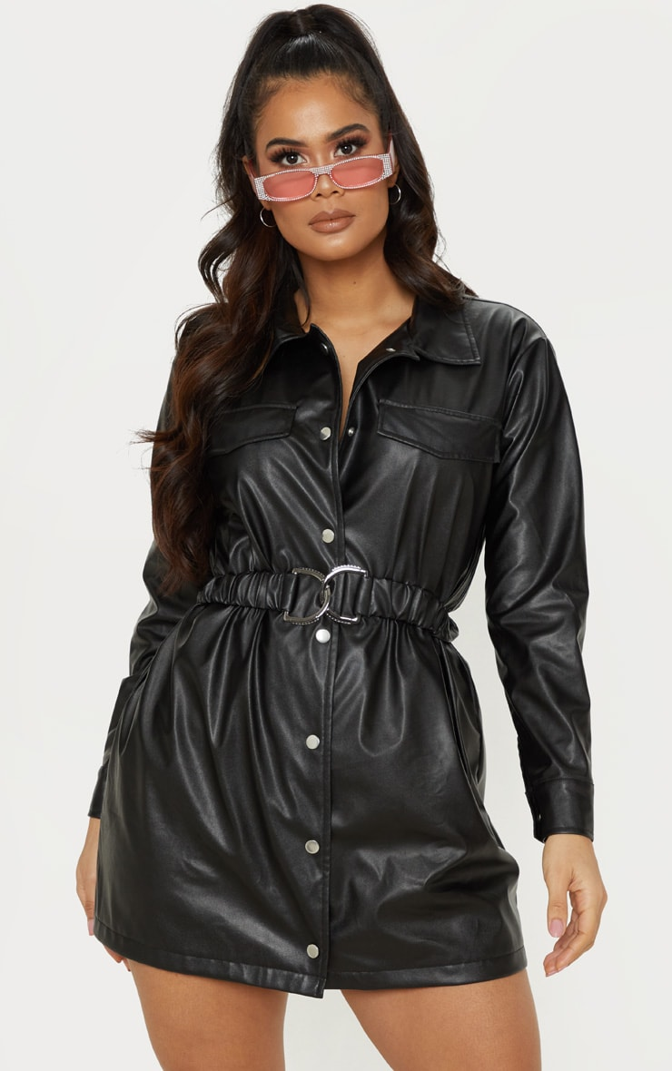 Black Faux Leather Belted Shirt Dress 4