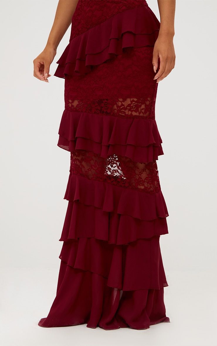 Burgundy Lace Frill Detail Maxi Skirt 6