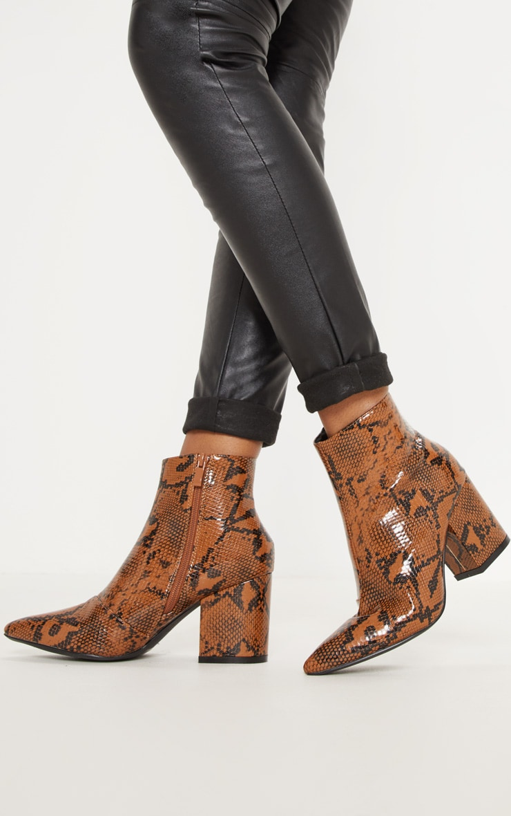 Snake Low Block Heel Point Ankle Boot 2
