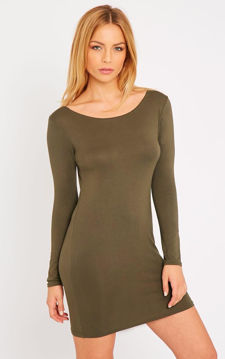 Basic Khaki Long Sleeve Jersey Mini Dress 1