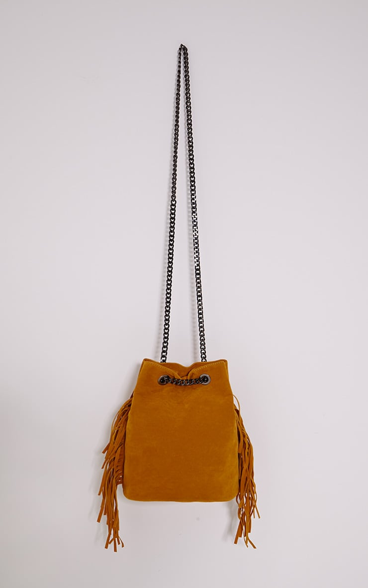 Letty Mustard Suede Fringe Bucket Bag 1