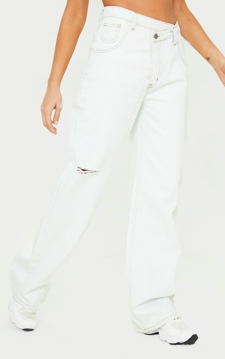 Bleach Wash Asymmetric Waist Wide Leg Jeans 2