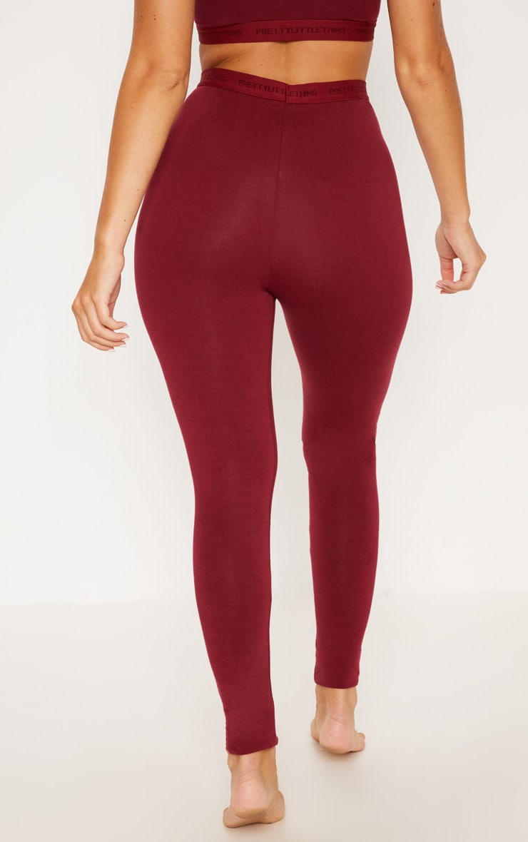 PRETTYLITTLETHING Maroon High Waisted Leggings 4