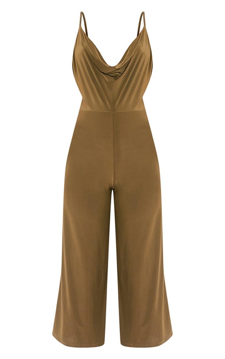 Sofia Khaki Scoop Front Cullotte Slinky Jumpsuit 3