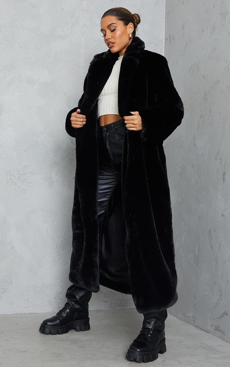 Black Premium Faux Fur Plush Military Maxi Coat 3