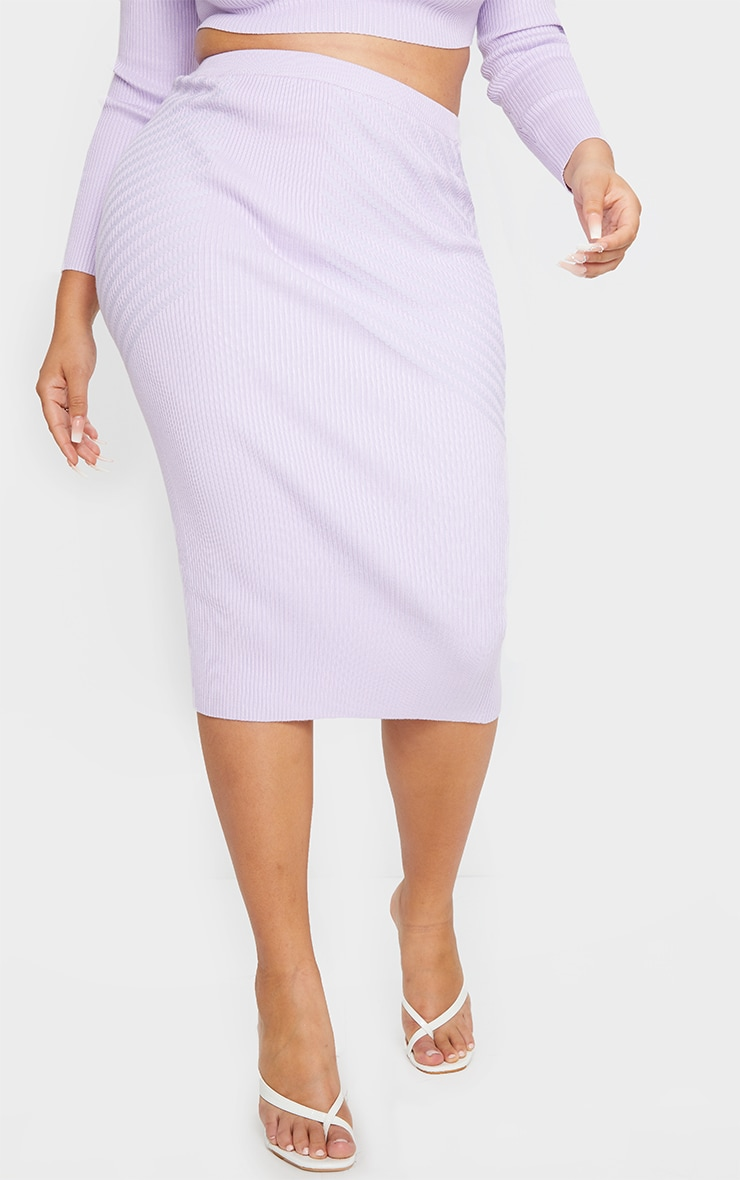 Plus Lilac Knit Mid Skirt 2