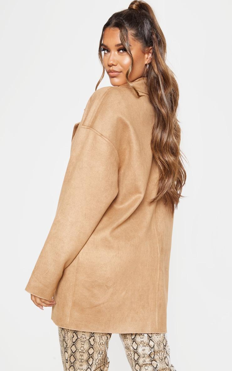 Camel Cocoon Faux Suede Coat 2