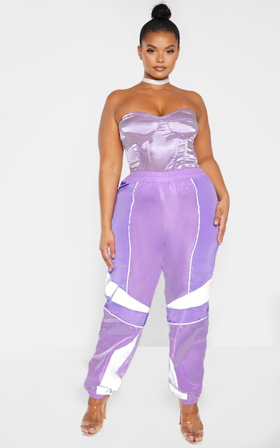 Plus Lilac Contrast Panel Shell Joggers