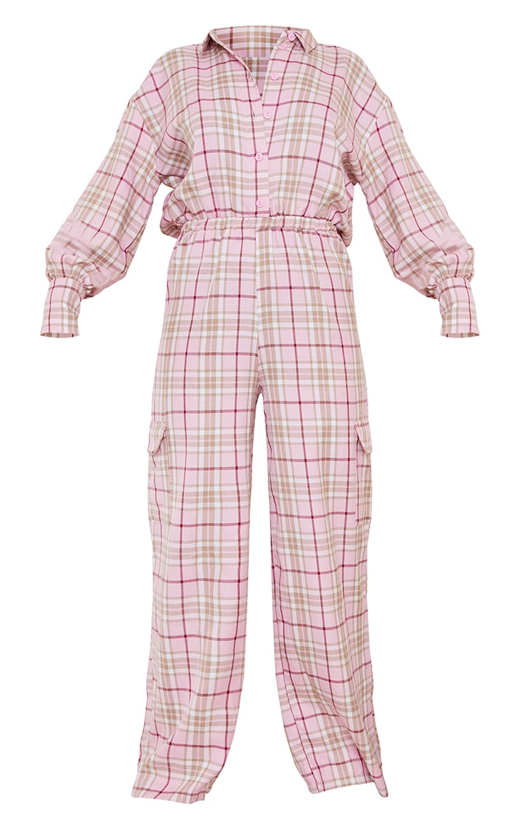 Pink Check Pocket Wide Leg Shirt Jumpsuit 5