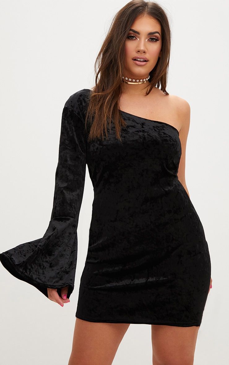 Plus Black Crushed Velvet One Shoulder Bodycon Dress 1