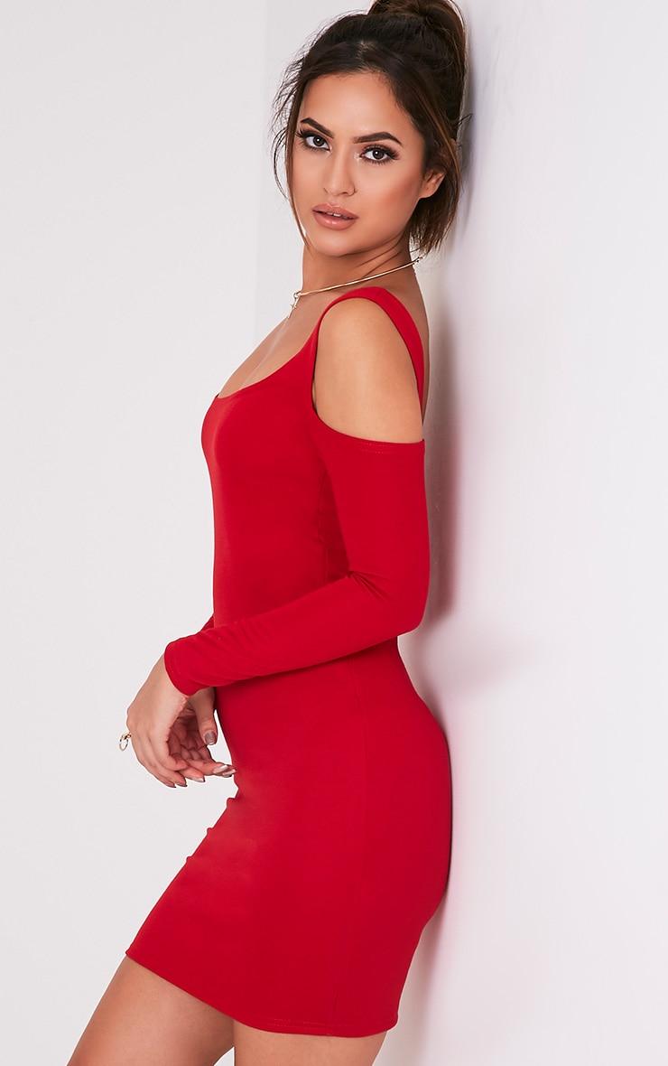 Eshan Red Ponte Cold Shoulder Bodycon Dress 4