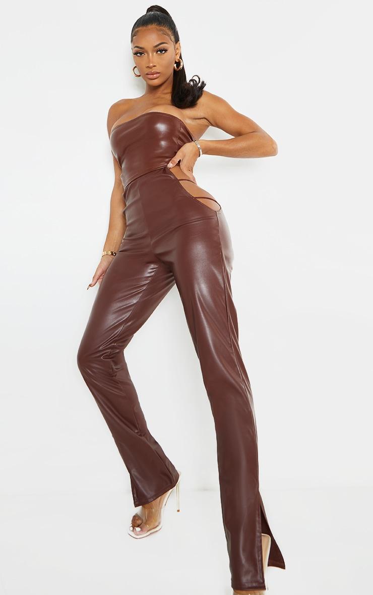 Shape Chocolate PU Cut Out Side Split Hem Pants