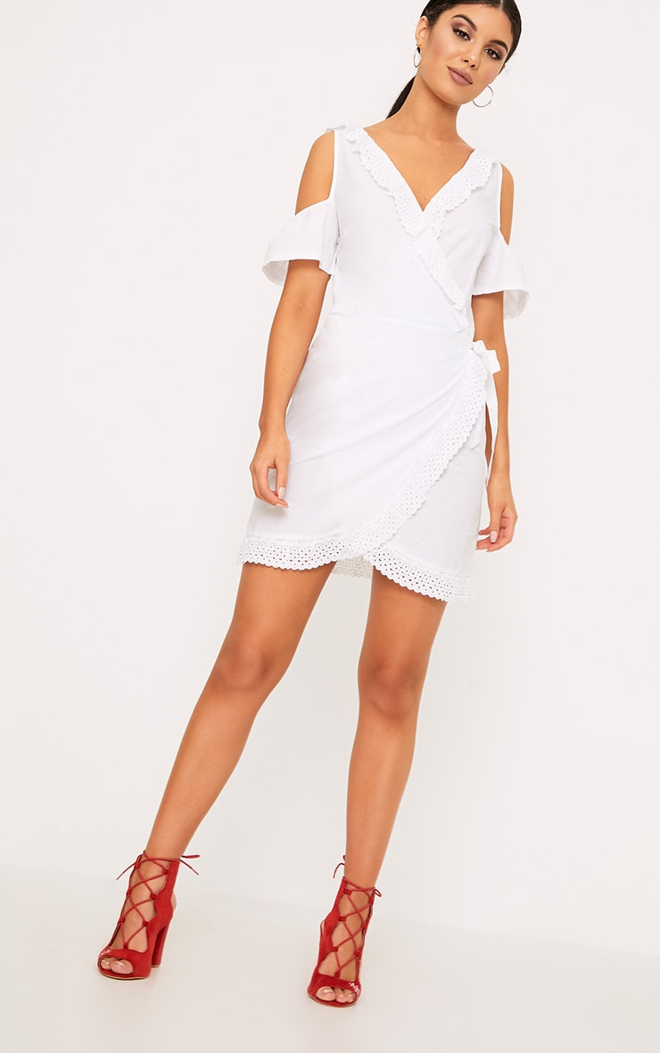 White Broderie Anglaise Cold Shoulder Shift Dress 4