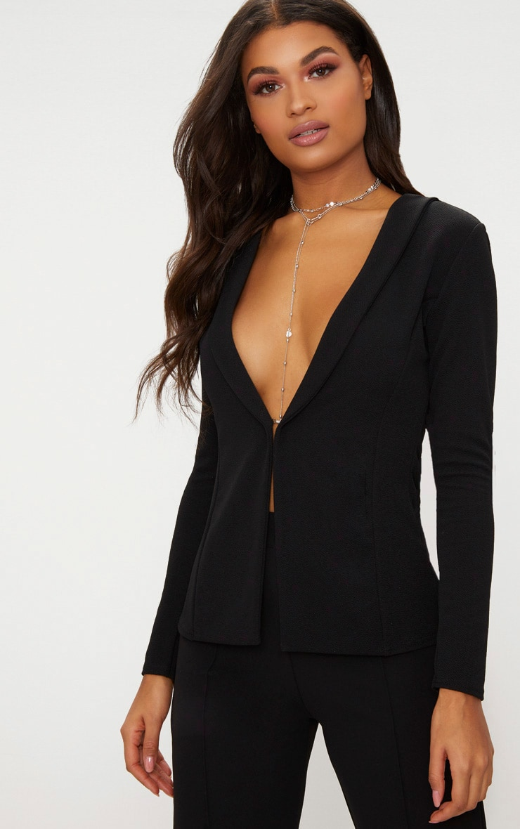 Black Lapel Hook and Eye Blazer 1