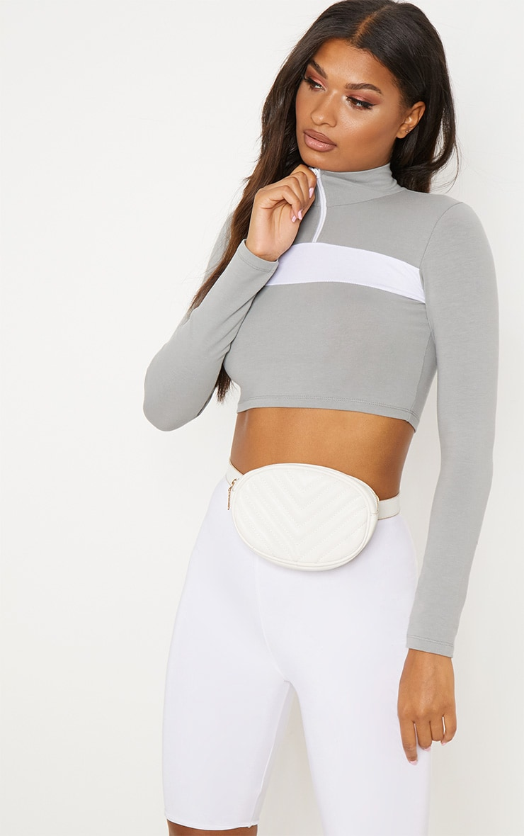 Grey Contrast Zip Front High Neck Long Sleeve Crop Top 1