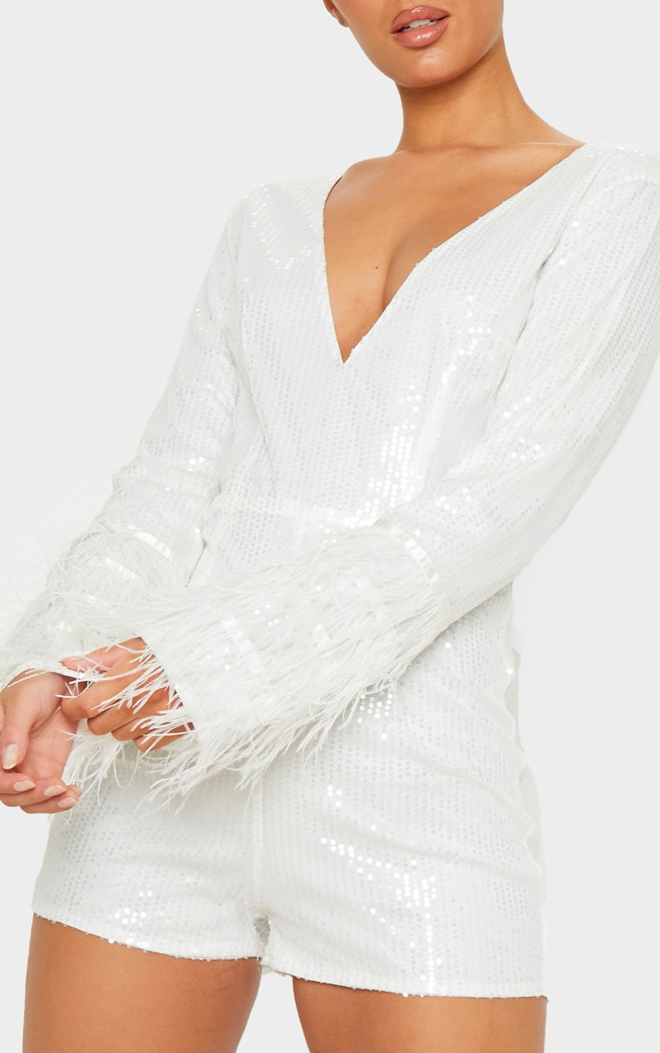 White Sequin Feather Detail Long Sleeve Playsuit 5