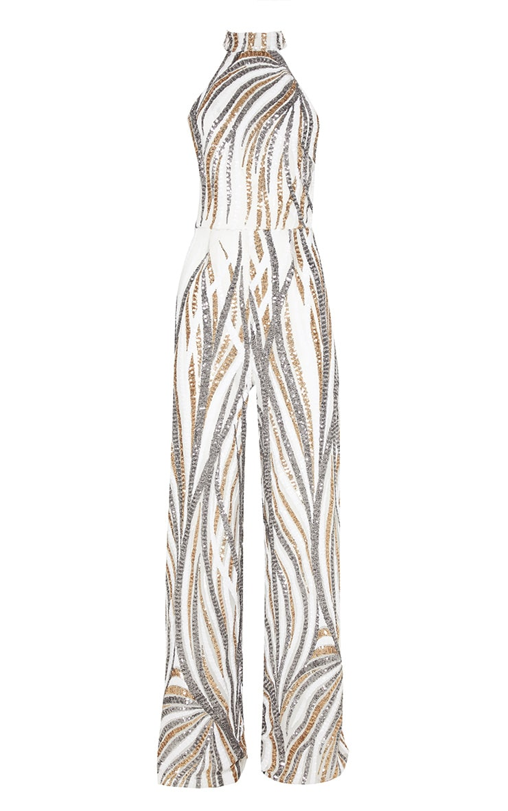 Gold Sequin High Neck Jumpsuit 3