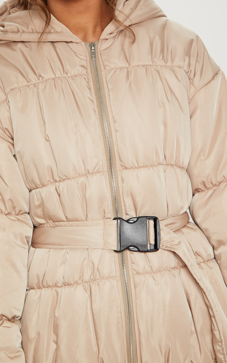 Doudoune beige à ceinture 5