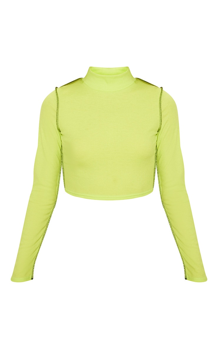 Lime Rib Contrast Stitch Long Sleeve Crop Top 3