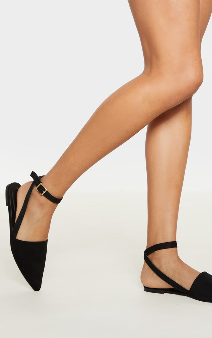 Black Point Toe Slingback Ankle Strap Flat 1