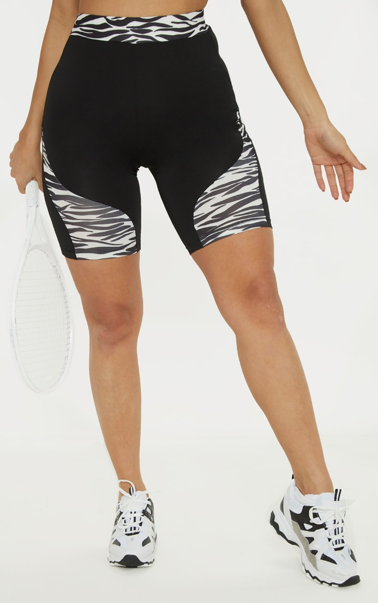 Zebra Contrast Panelled Cycle Shorts 2
