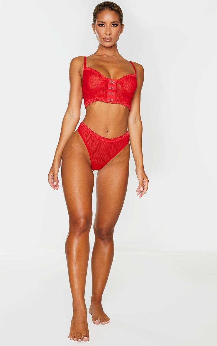 Red Mesh Lace Trim Thong 4