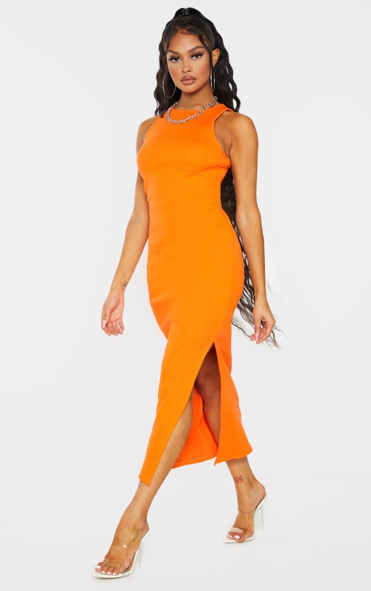 Bright Orange Cup Detail Racer Split Midi Dress 1