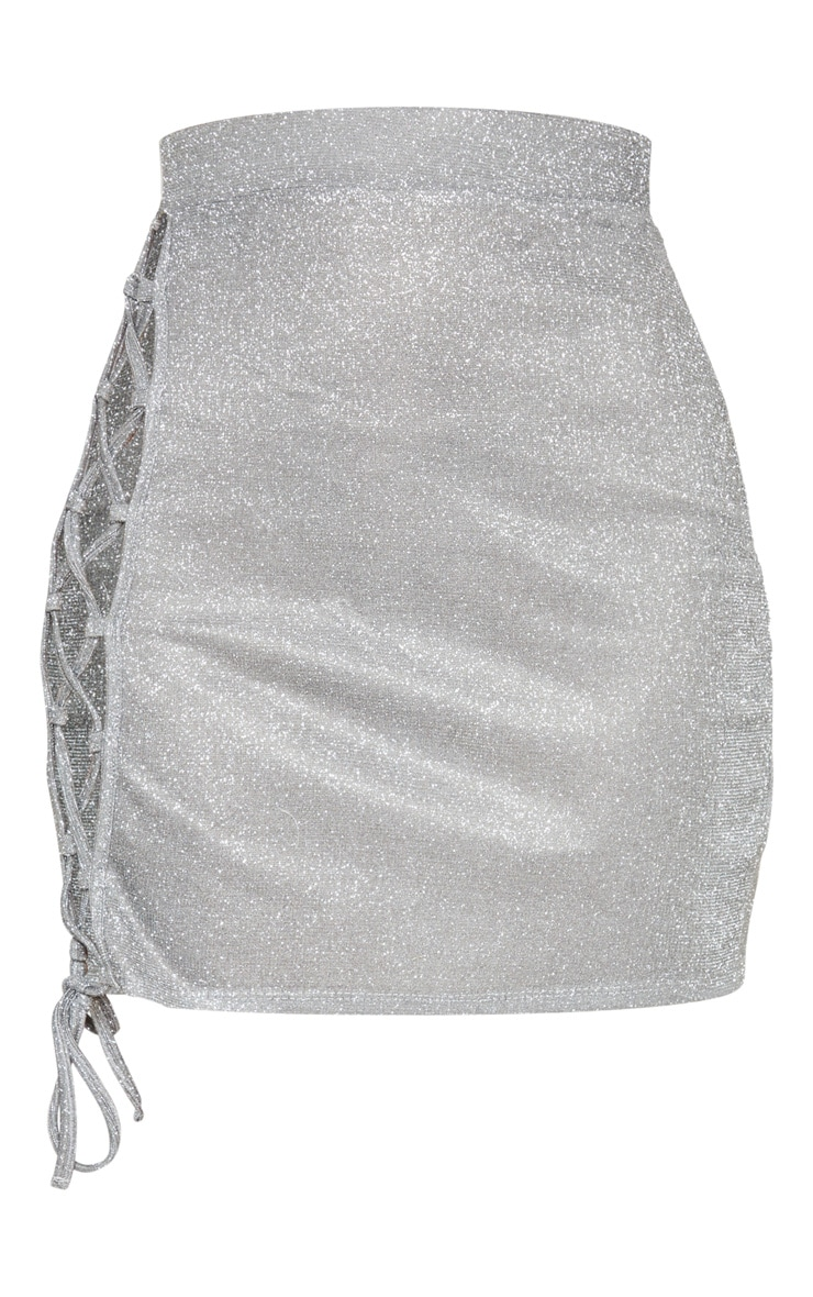 Silver Textured Glitter Lace Up Mini Skirt 3