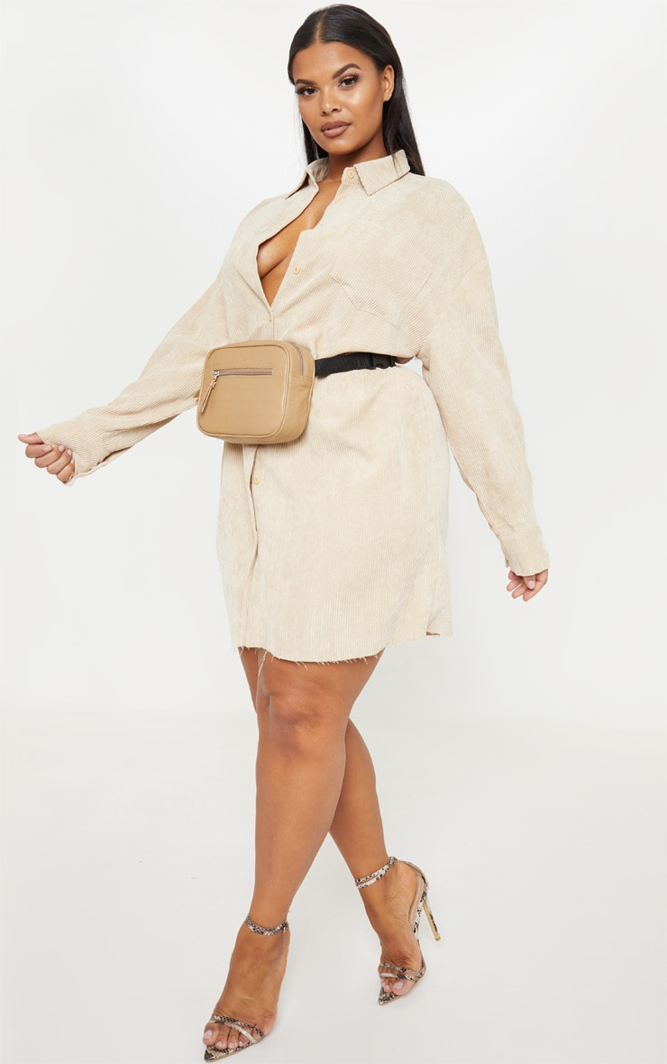 Plus Camel Corduroy Oversized Shirt Dress 4