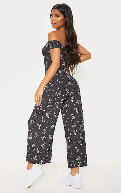 Black Ditsy Print Ruched Detail Bardot Wide Leg Jumpsuit
