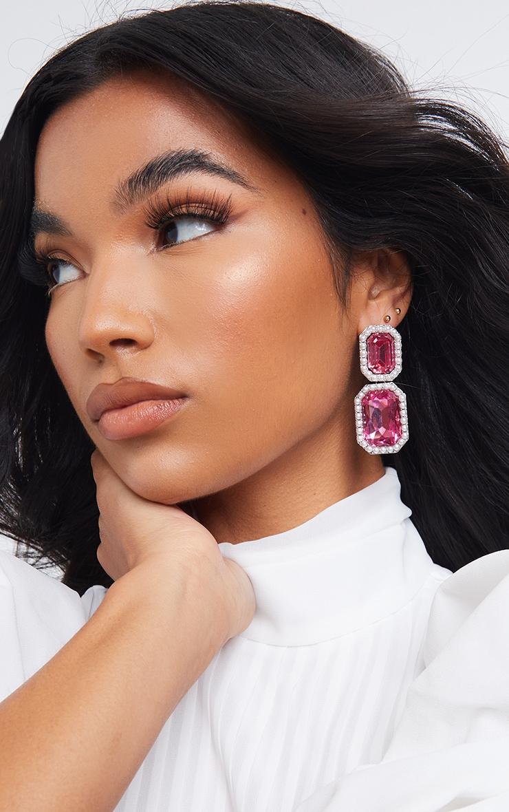 Silver Double Jewel Pearl Edge Earrings 1