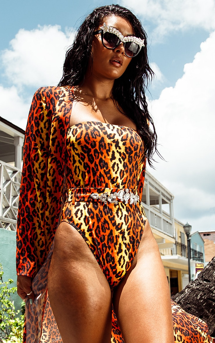 Orange Leopard Jewel Belt Swimsuit