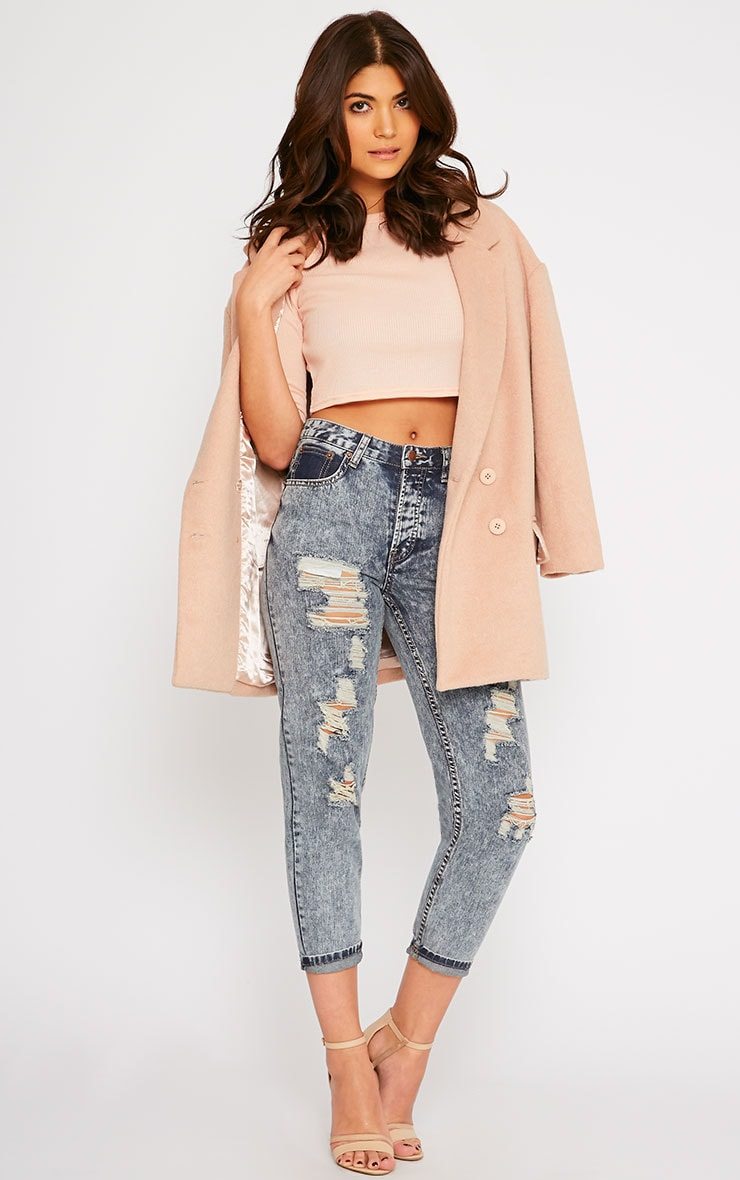 Basic Nude Cut Out Shoulder Crop Top 3