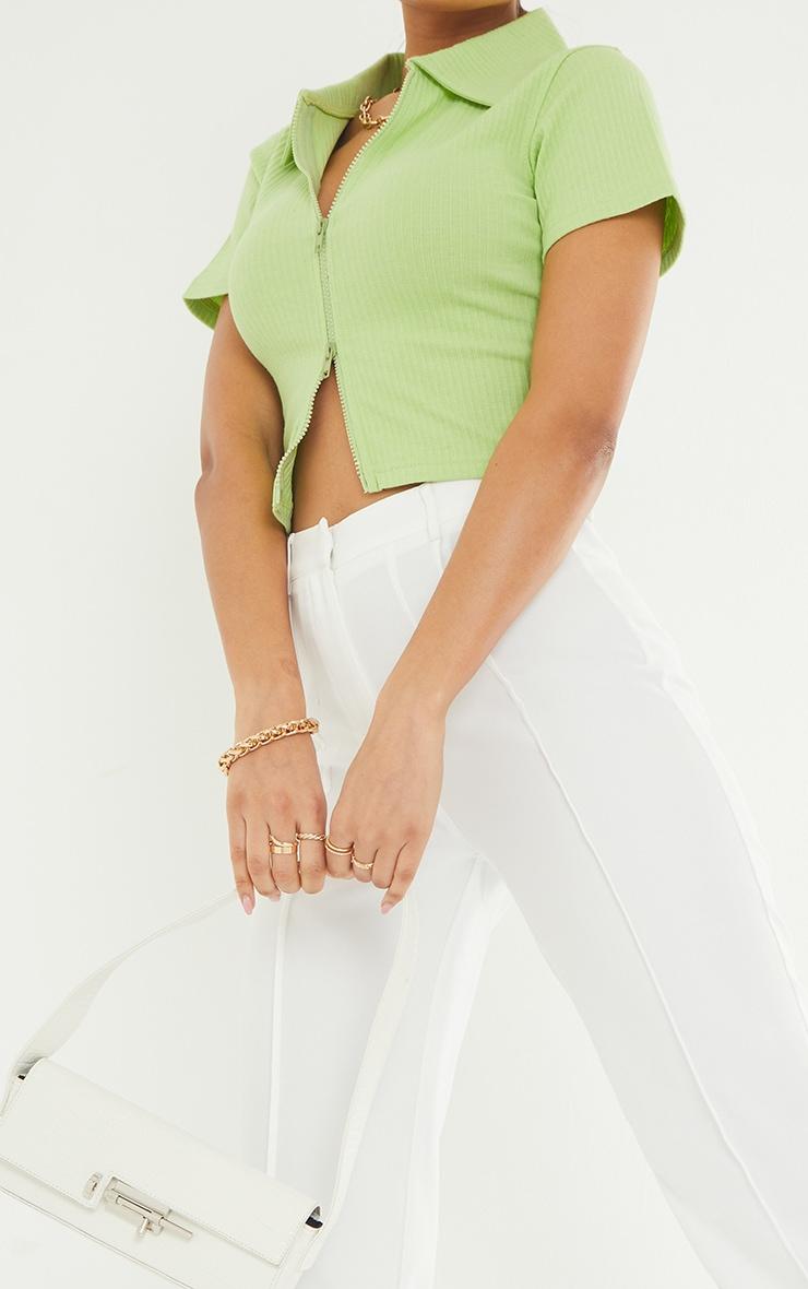 Lime Short Sleeve Jumbo Rib Polo Collar Double Zip Top 4