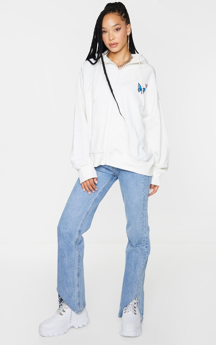 White Butterfly Oversized Hooded Jacket 3