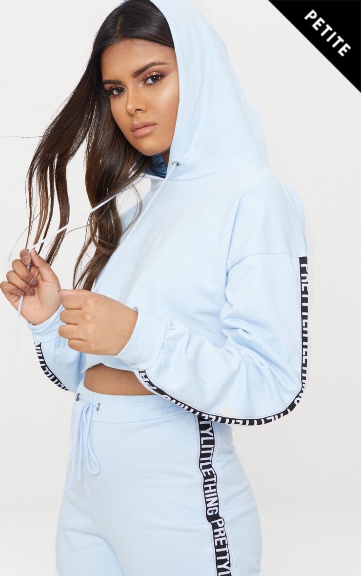 PRETTYLITTLETHING Petite Dusky Blue Cropped Hoodie 1