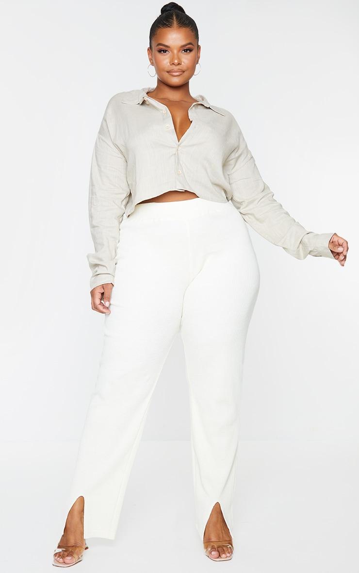 Plus Grey Linen Look Crop Shirt 1
