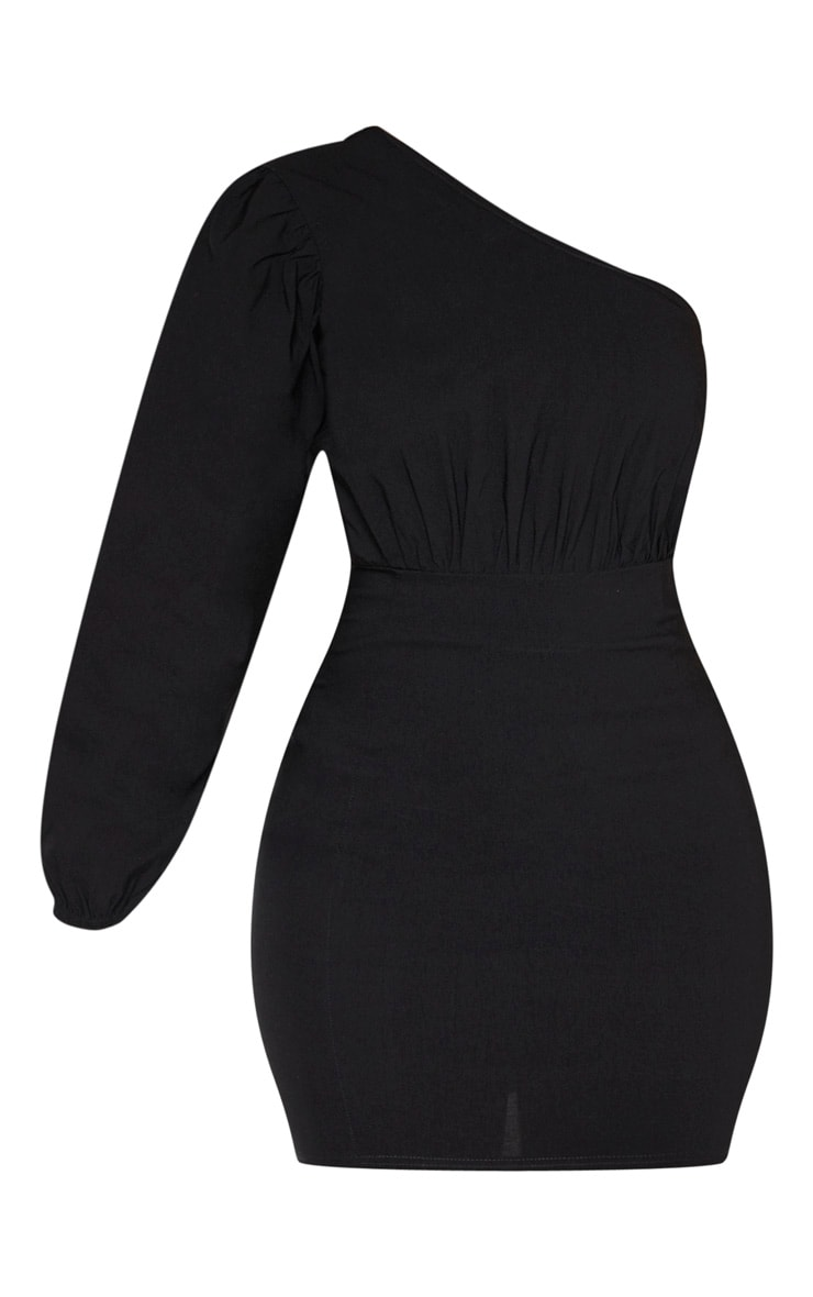 Black Woven One Shoulder Puff Sleeve Bodycon Dress 3